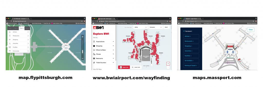 Screen captures of Interactive maps at PIT, BWI and BOS