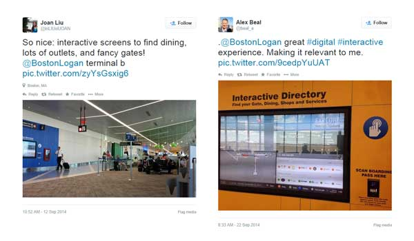"Image of two tweets about Art of Context award winning digital signage.  Joan Liu tweets ""So nice: interactive screens to find dining, lots of outlets and fancy gates!  •  Alex Beal  tweets ""@BostonLogan Great #digital #interactive experience making it relevant to me."