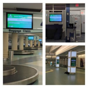 Baggage Claim Screen, Gate Screen and advertising screen all showing EMS test message.