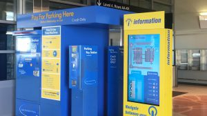 Horizontal image of parking payment Kiosk and Parking wayfiniding kiosk in Central Parking at BOS