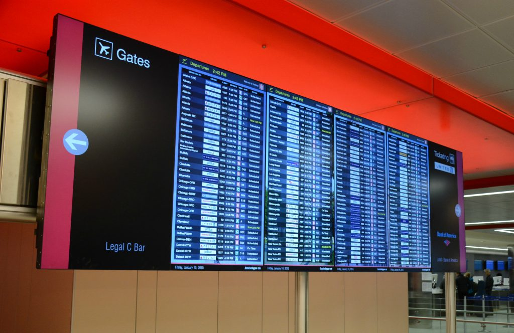 List of flights and their status at Boston Logan Airport Terminal C
