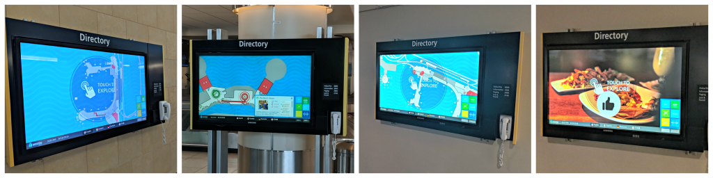 4 images of the SAN wayfinding map in different locations in the airport.