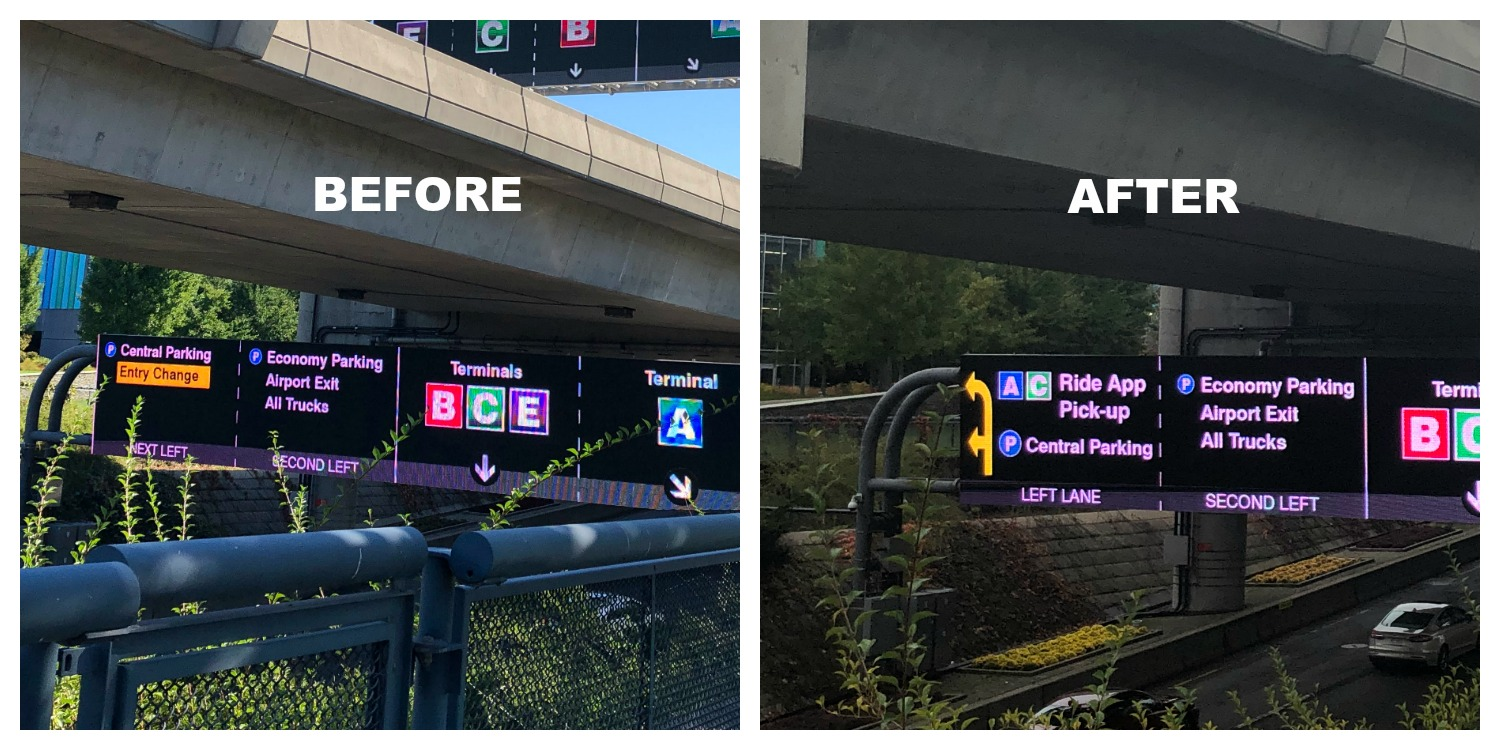 BOS Under roadway signs before and after TNC changes
