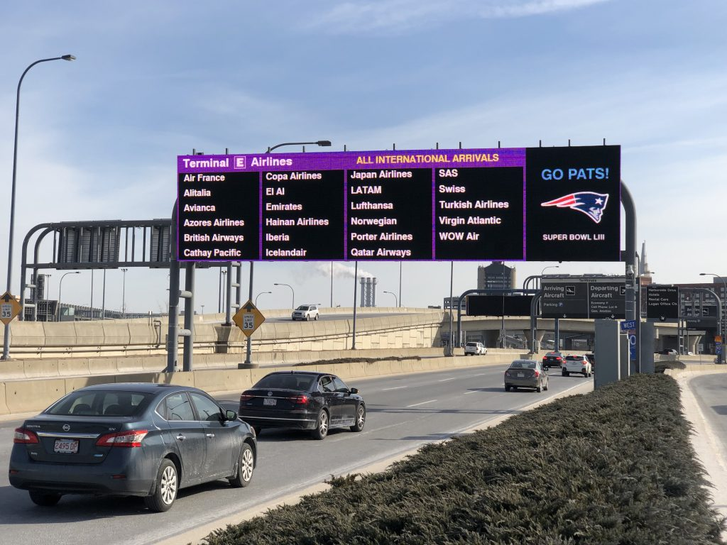 Terminal E roadway sign. Lists all Terminal E airlines and Go Pats for the Patriots 2019 Superbowl berth